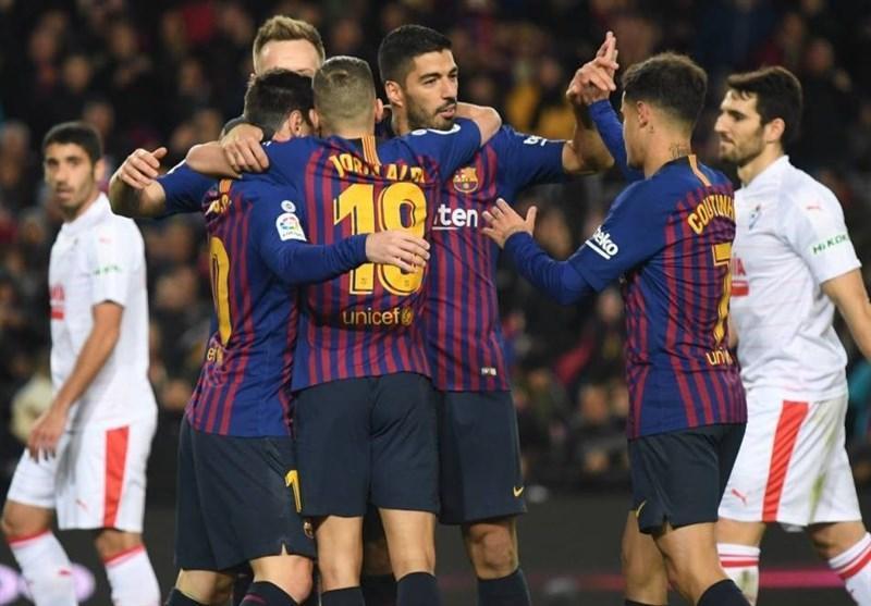 فزونی خانگی بارسلونا با درخشش مسی و سوارس