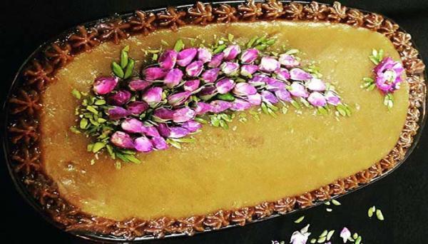 تزیین حلوا با گل محمدی همراه با عکس